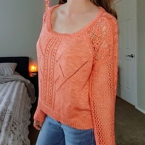 Clementine coral daisy crochet crop knit sweater